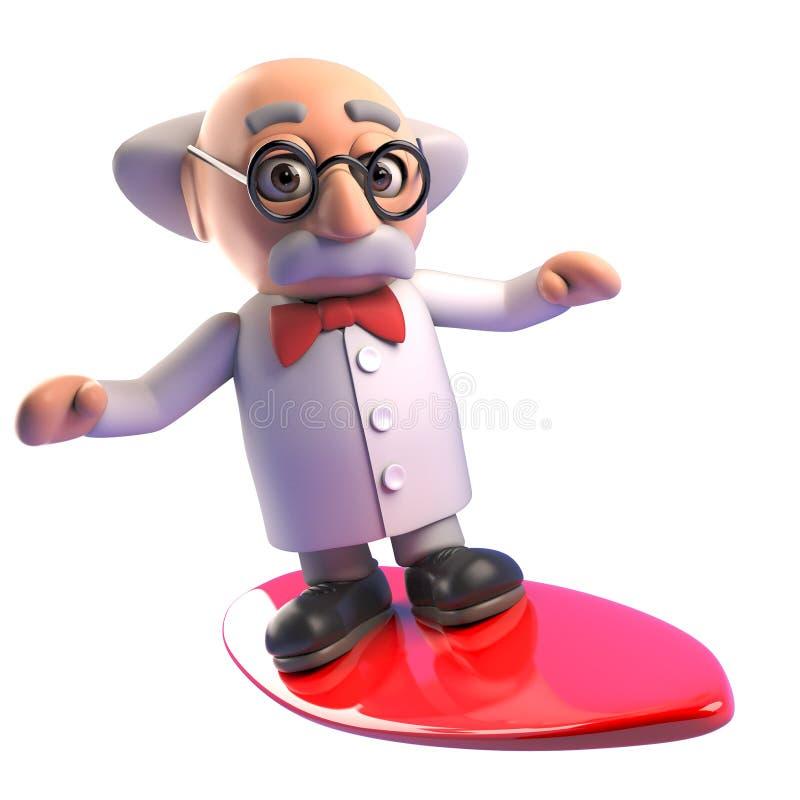Het koele gekke karakter die van de professorswetenschapper op een surfplank, 3d illustratie surfen stock illustratie