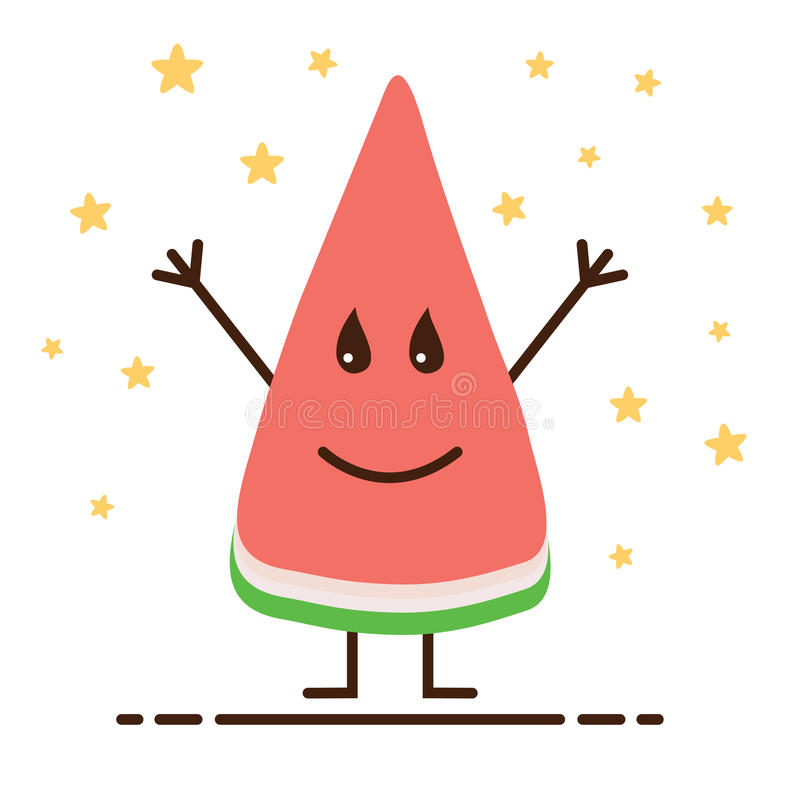 Het koele glimlachen emoticon maakte als fruitwatermeloen, emoji, smiley op wit met gelukkige sterren royalty-vrije illustratie