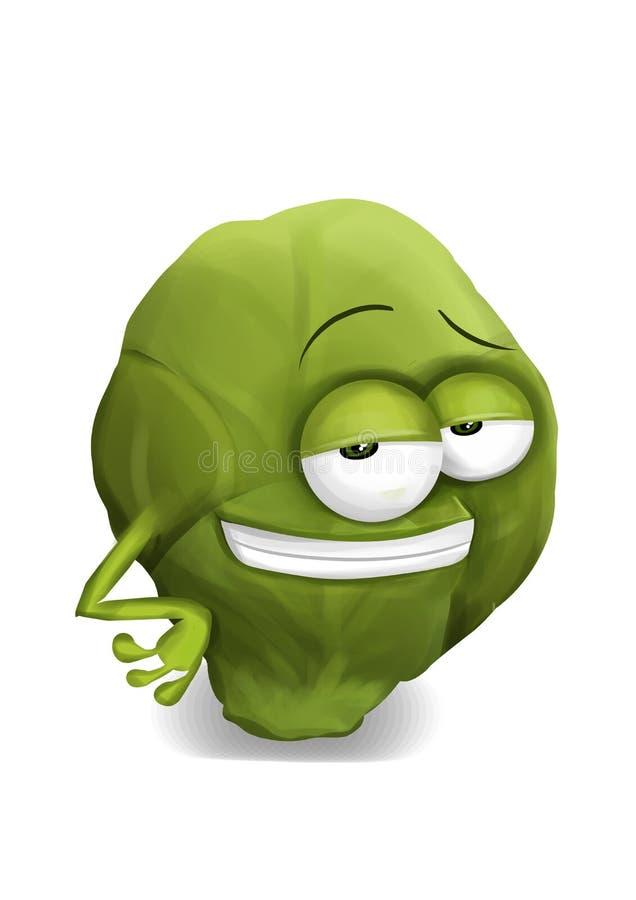 Het koele karakter van het spruitjesbeeldverhaal met half-open sluwe ogen, het glimlachen stock illustratie