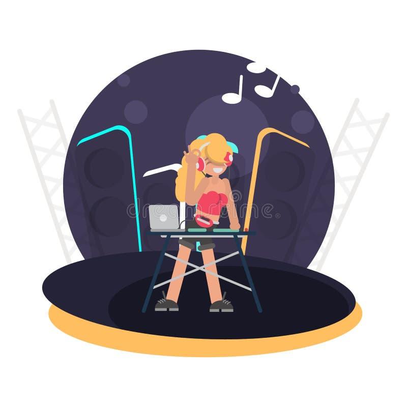 Het koele meisje van DJ achter de console op de vlakke illustratie van de stadiumkleur vector illustratie