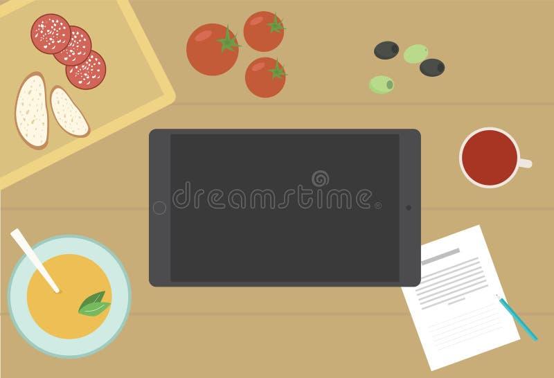 Het koelen met Tablet stock illustratie