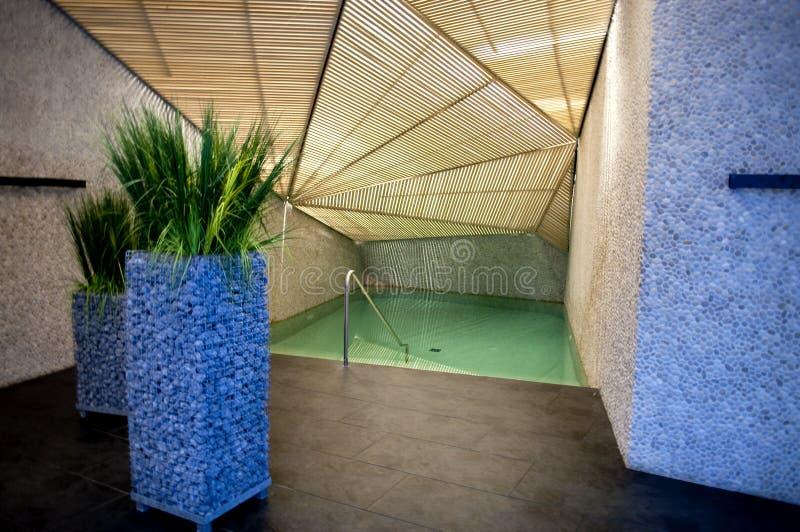 Het koelen van pool in kuuroord stock foto