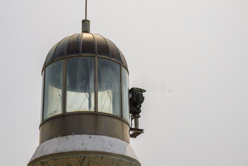 Het koepelglas van de vuurtoren op Haeundae Dongbaekseom wordt gevestigd die is royalty-vrije stock foto's
