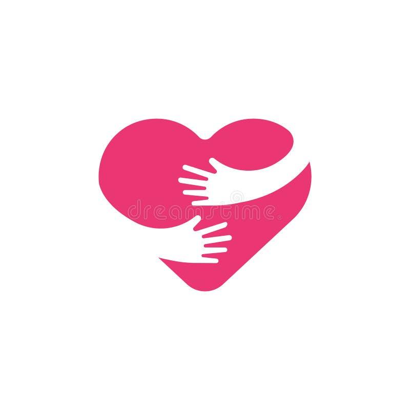 Het koesteren van hartsymbool, omhelzing zelf, liefde zelf Hart en handenillustratie vector illustratie