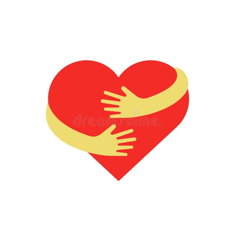Het koesteren van hartsymbool Omhelzings zelf embleem Liefde zelf vector vlakke illustratie royalty-vrije illustratie