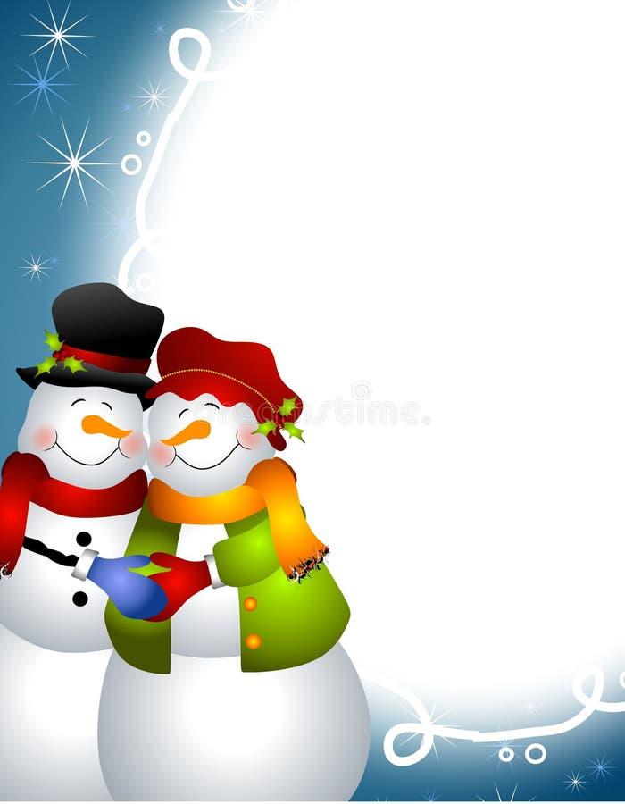 Het koesteren van het Paar van de Sneeuwman stock illustratie