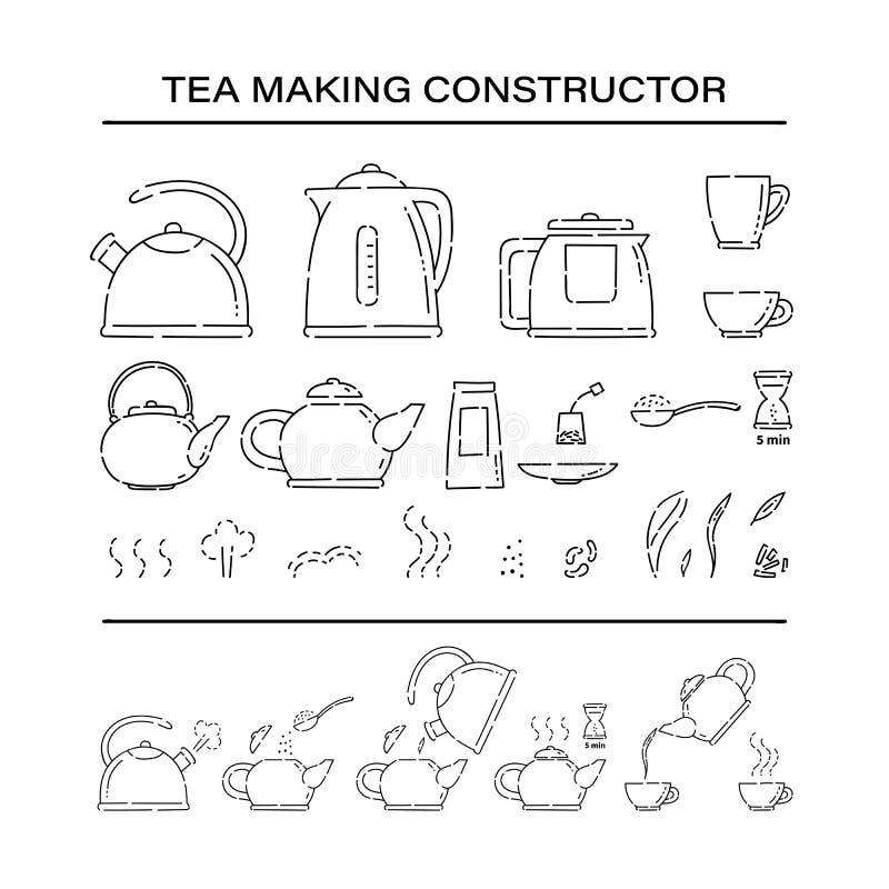 Het koken brouwt de aannemers vastgestelde pictogrammen van de theeprocedure Hoe te om hete dranktheepot te maken en in de vector royalty-vrije illustratie