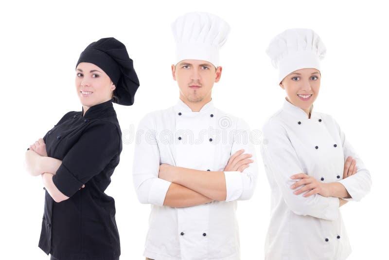 Het koken concept - jong die chef-koksteam op wit wordt geïsoleerd royalty-vrije stock afbeelding