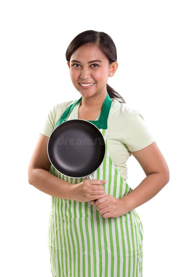 Het koken dameportret stock afbeelding