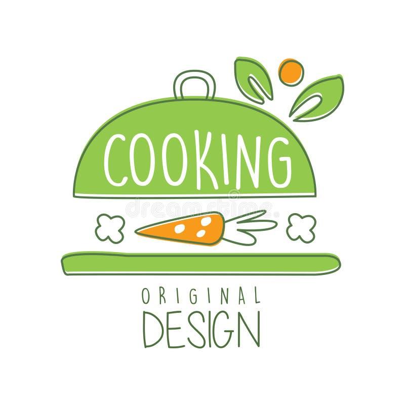 Het koken embleem origineel ontwerp met cookware en wortel Creatief lijnetiket voor natuurvoedingkoffie, de leveringsdienst royalty-vrije illustratie