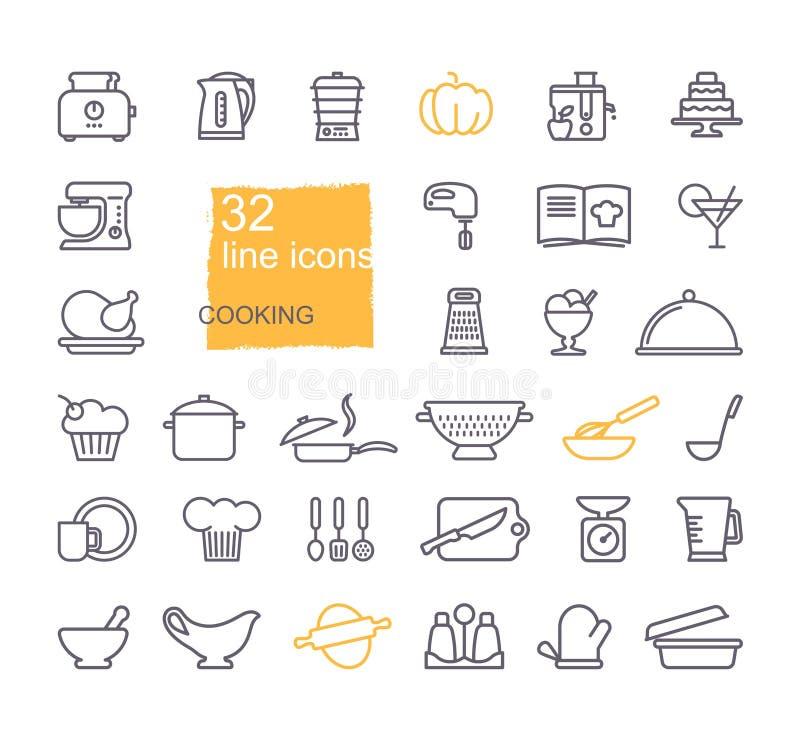 Het koken en de reeks van het keukenpictogram, vlak ontwerp, dunne lijnstijl stock illustratie