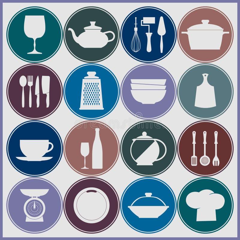 Het koken en keukenschotelspictogrammen royalty-vrije illustratie