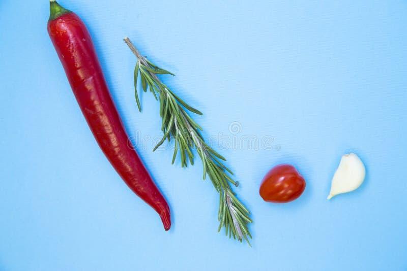 Het koken Heet Kruidig Voedselconcept Droge kruiden en kruiden in houten lepels, lichtblauwe achtergrond stock foto