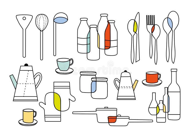 Het koken het eten en huiswarenmateriaal stock illustratie