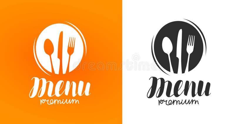 Het koken, keukenembleem Pictogram en etiket voor het restaurant of de koffie van het ontwerpmenu Het van letters voorzien, kalli
