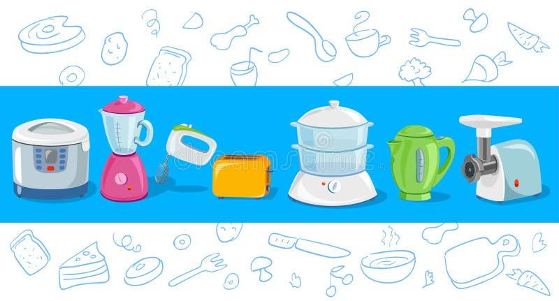 Het koken, keukentoestellen, schets stock illustratie
