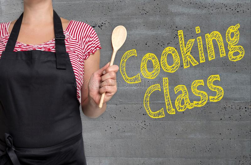 Het koken het Klassenconcept wordt getoond door kok stock fotografie
