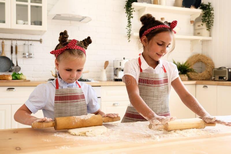 Het koken met jonge geitjes royalty-vrije stock afbeeldingen