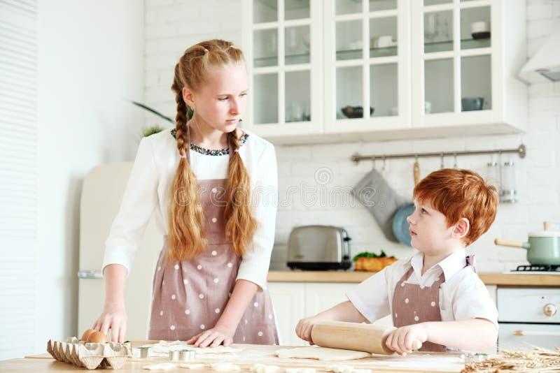 Het koken met jonge geitjes stock foto's