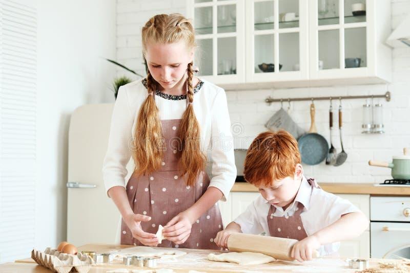 Het koken met jonge geitjes royalty-vrije stock afbeelding