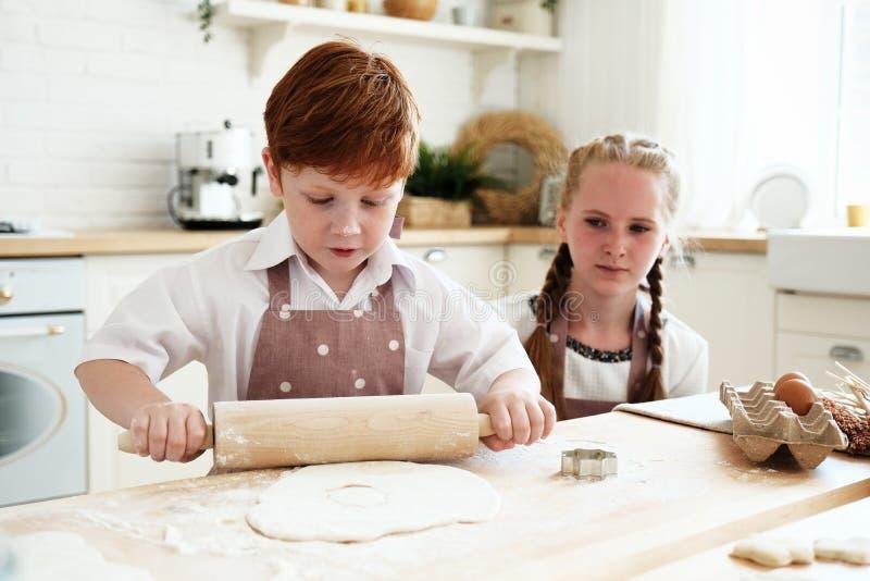 Het koken met jonge geitjes stock foto