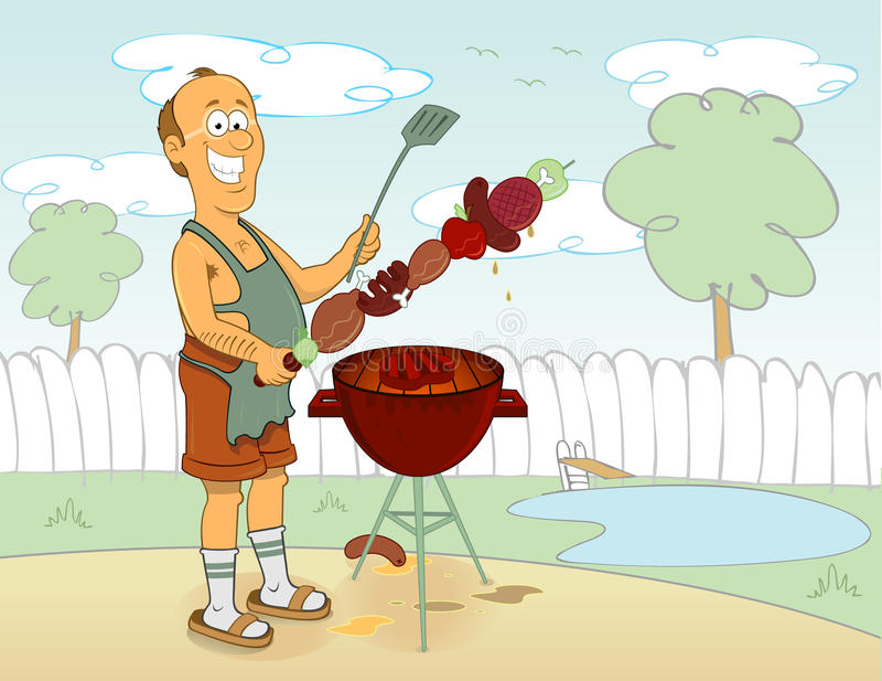 Het koken van de barbecue royalty-vrije illustratie