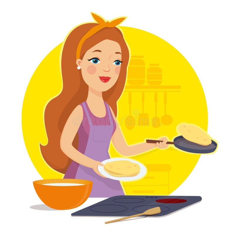 Het koken van de vrouw in de keuken Huisvrouw in de keuken Moeder het koken Ik houd van te koken Vector illustratie stock illustratie