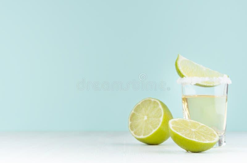 Het koken van de zomer verse die alcohol van tequila met kalk, zout op rand op zachte lichte pastelkleur groene achtergrond en wi royalty-vrije stock foto