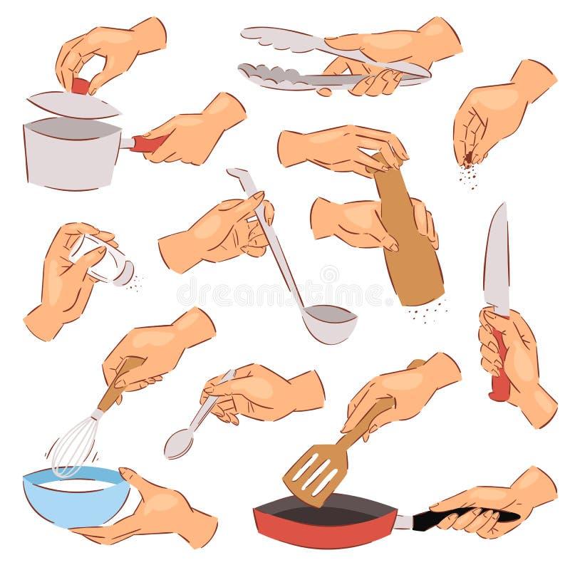 Het koken van handen vectorchef-kok die voedsel op pan voorbereiden die keukengerei of cookware illustratiereeks van hand met kom vector illustratie