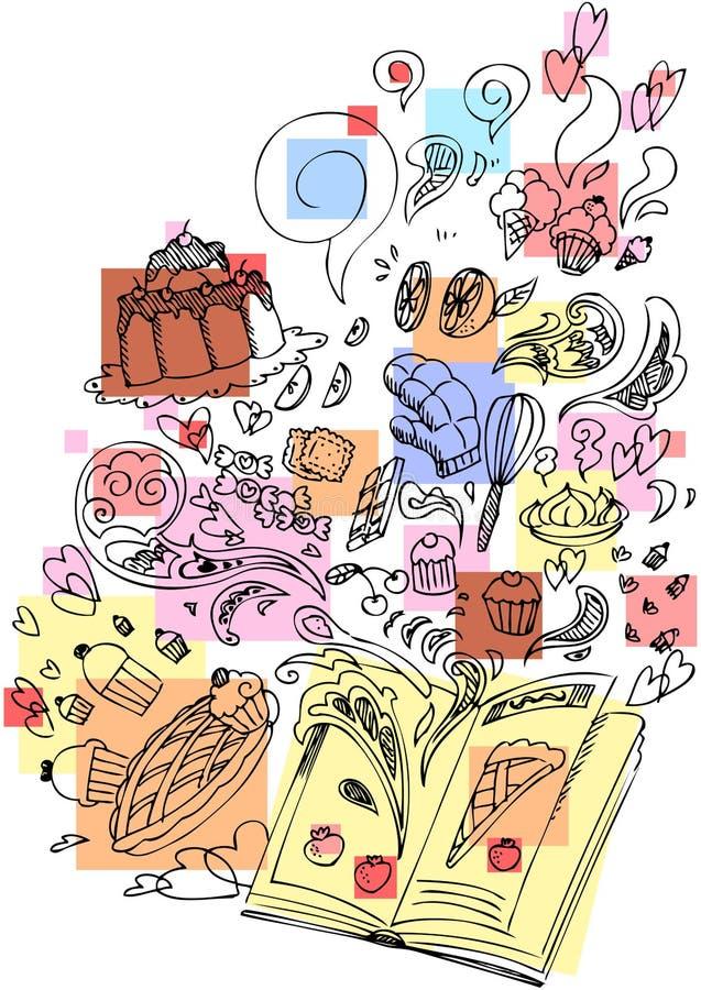 Het koken van het dessert boek schetsmatige krabbel stock illustratie
