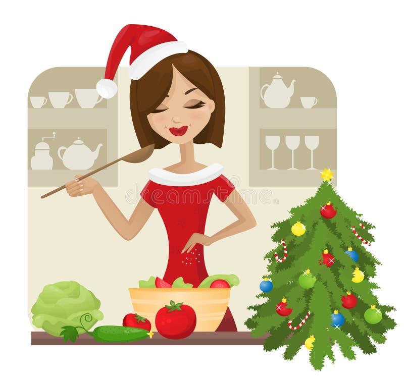 Het koken van Kerstmis stock foto's