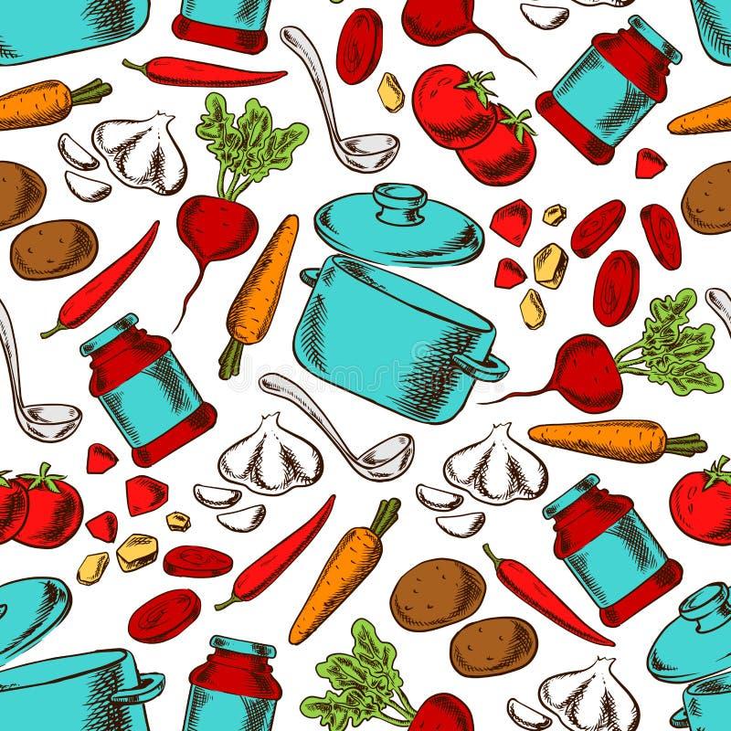 Het koken van naadloos patroon met ingrediënten stock illustratie