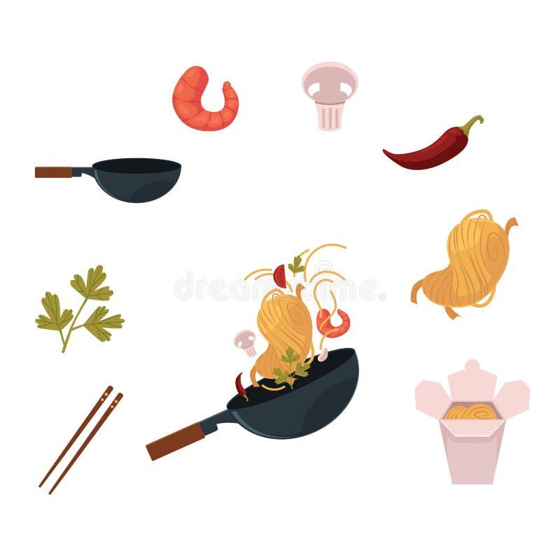Het koken van Thaise, Japanse, Chinese noedel in wok vector illustratie