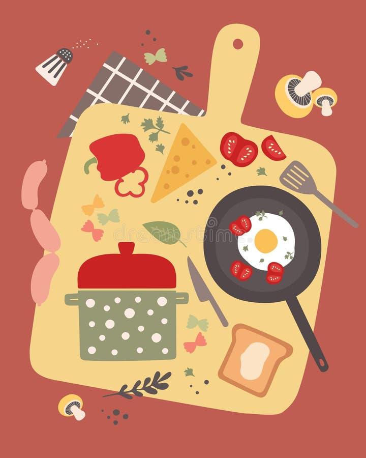 Het koken van vectorillustratie met vers voedsel royalty-vrije illustratie