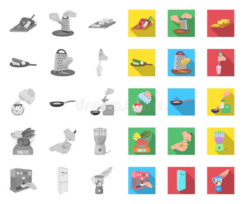 Het koken van voedsel mono, vlakke pictogrammen in vastgestelde inzameling voor ontwerp Keuken, materiaal en van het hulpmiddelen stock illustratie