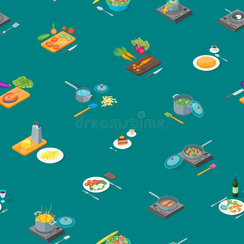 Het koken of Voorbereidings van het Voedsel Naadloze Patroon Isometrische Mening Als achtergrond Vector royalty-vrije illustratie