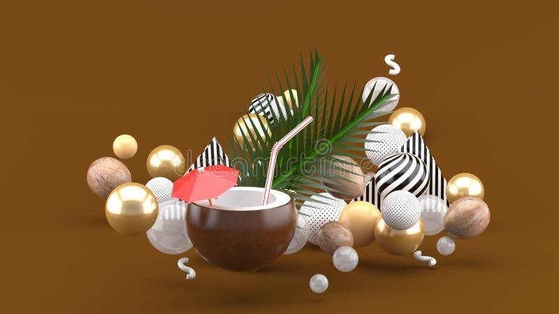 Het kokosnotenwater en de kokosnoot zijn onder de kleurrijke ballen op de bruine achtergrond stock illustratie