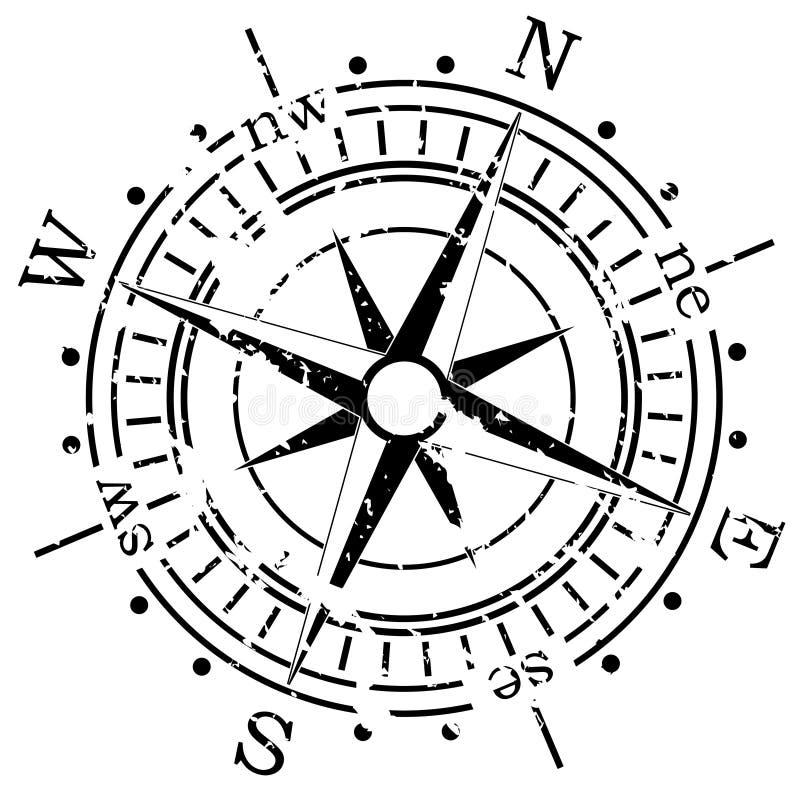 Het kompas van Grunge vector illustratie