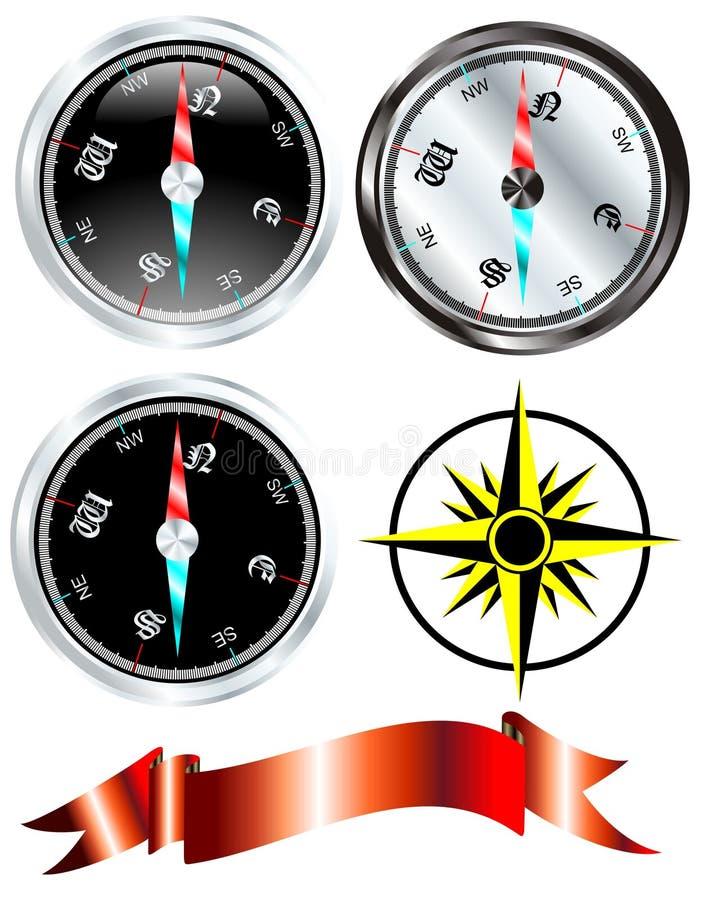 Het kompas vastgestelde vector van het staal stock illustratie