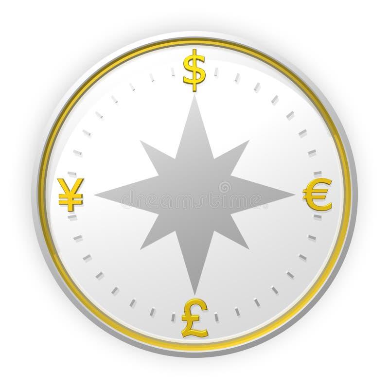 Het kompasachtergrond van de munt royalty-vrije illustratie