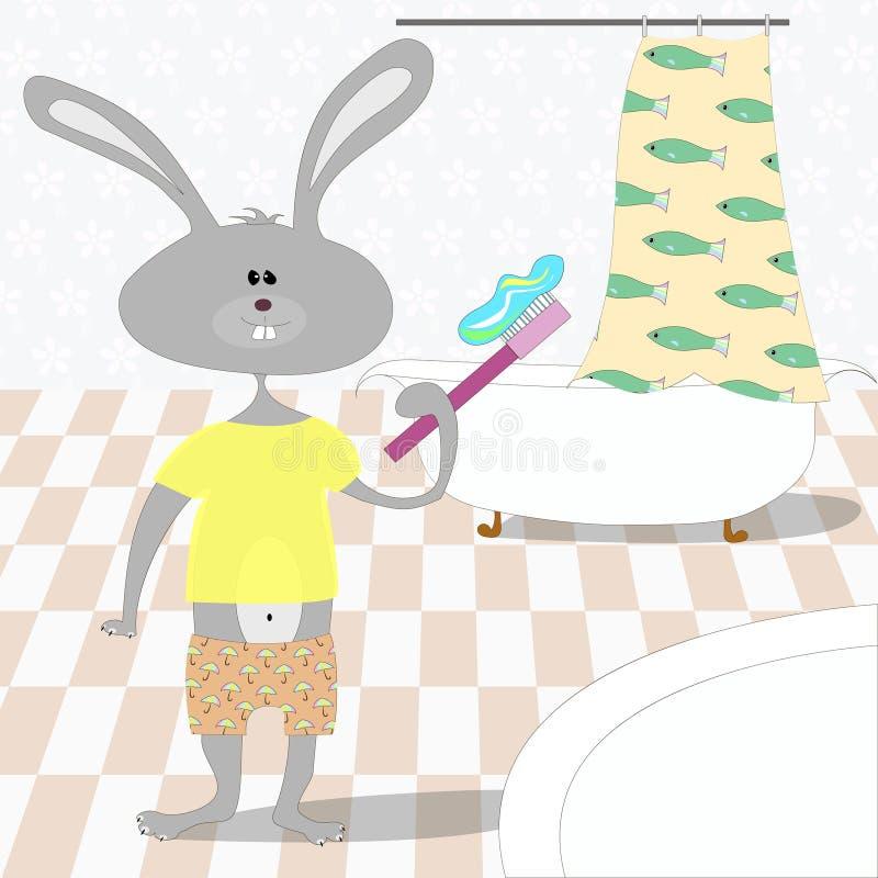 Het konijn borstelt tanden in de badkamers stock illustratie