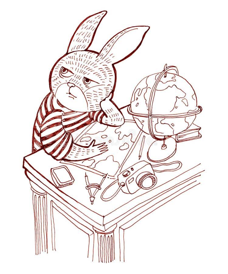 Het konijn in een overhemd zit bij de lijst en denkt over RT vector illustratie