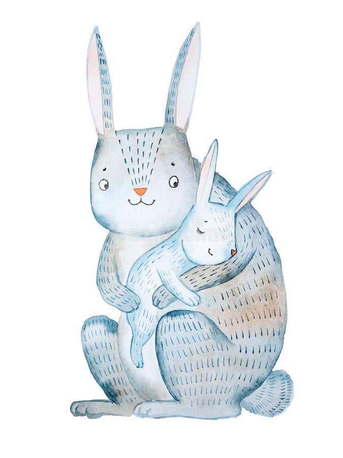 Het konijn van de beeldverhaalmoeder haar baby houden die lulling die hand-drawn met aquarelle te slapen op witte achtergrond wor royalty-vrije illustratie