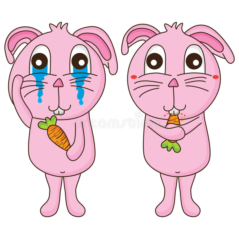 Het konijn wat betreft schreeuw eet wortel vector illustratie