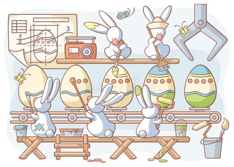 Het konijnfabriek geverfte eieren van Pasen stock illustratie