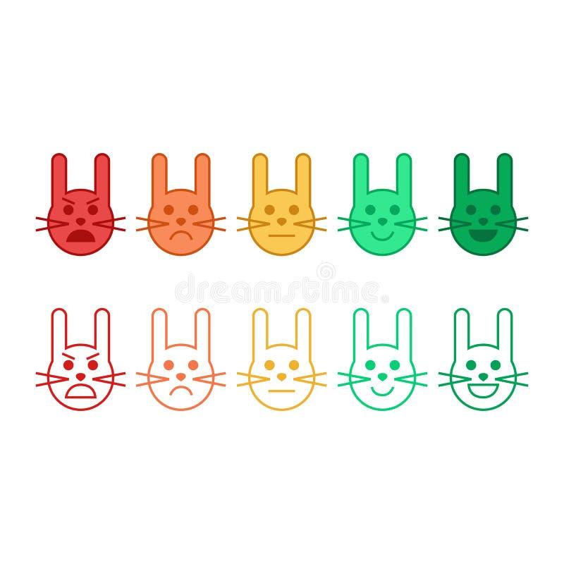 Het konijngezicht van het terugkoppelings vectorconcept Terugkoppeling in vorm van emoties, smileys, emoji Klantenterugkoppeling vector illustratie