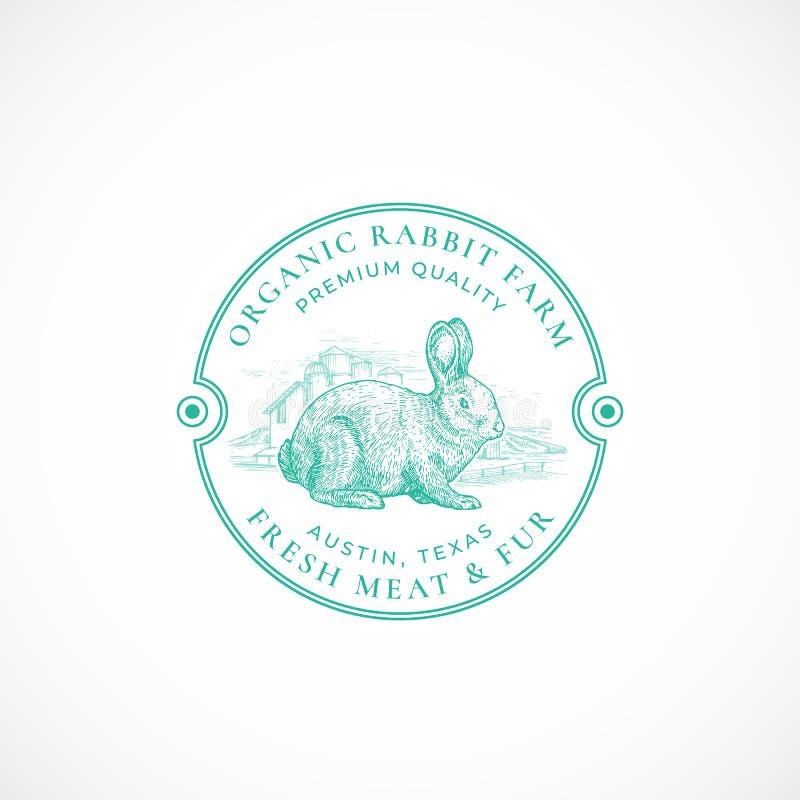 Het konijnlandbouwbedrijf ontwierp Retro Kenteken of Logo Template Hand Getrokken Hazen of Konijntjes en Landbouwbedrijflandschap vector illustratie