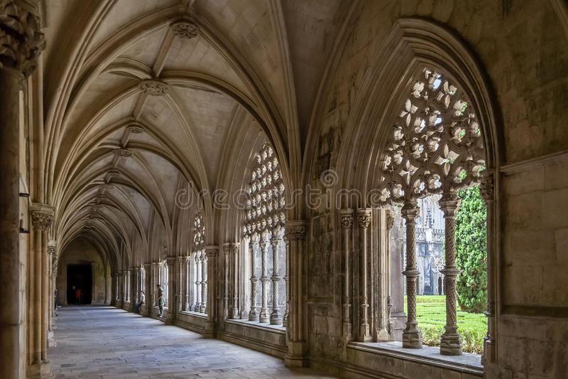 Het Koninklijke Klooster Meesterwerk van het Gotische en Manueline-art. stock foto's