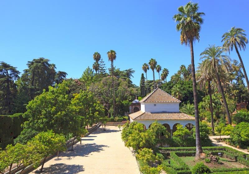 Het Koninklijke Oriëntatiepunt Van Tuinen Alcazar. Sevilla, Spanje Stock Afbeelding