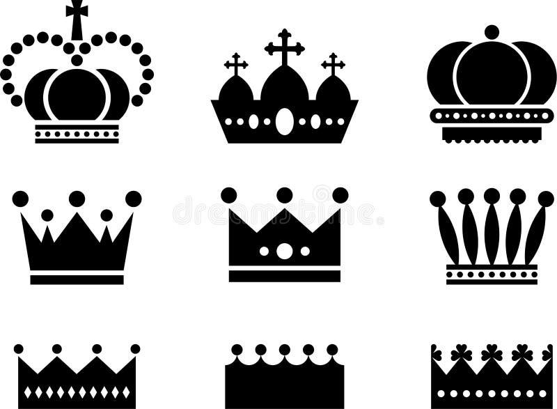 Het koninklijke Zwarte Wit van Kroonpictogrammen royalty-vrije illustratie